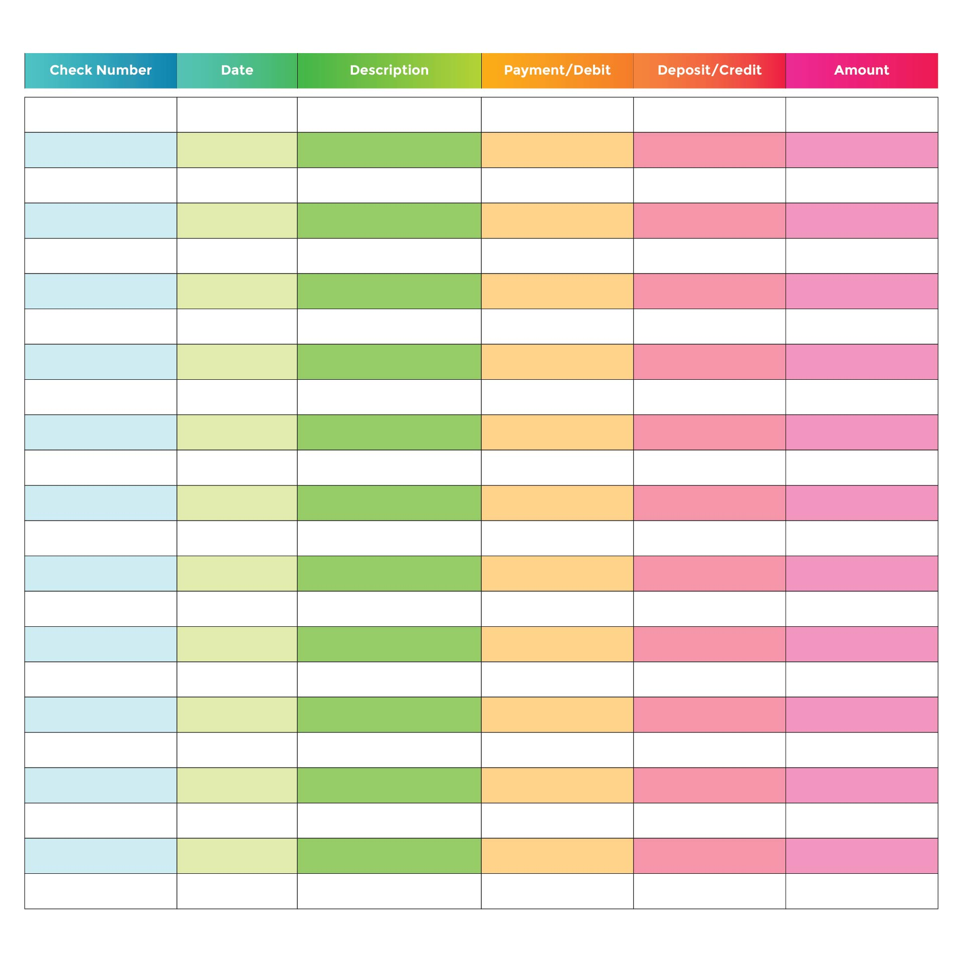 free checkbook register template