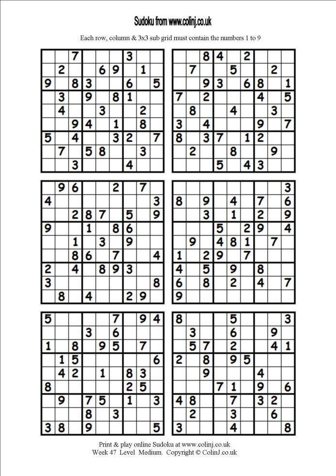 Easy Printable Sudoku Sheets