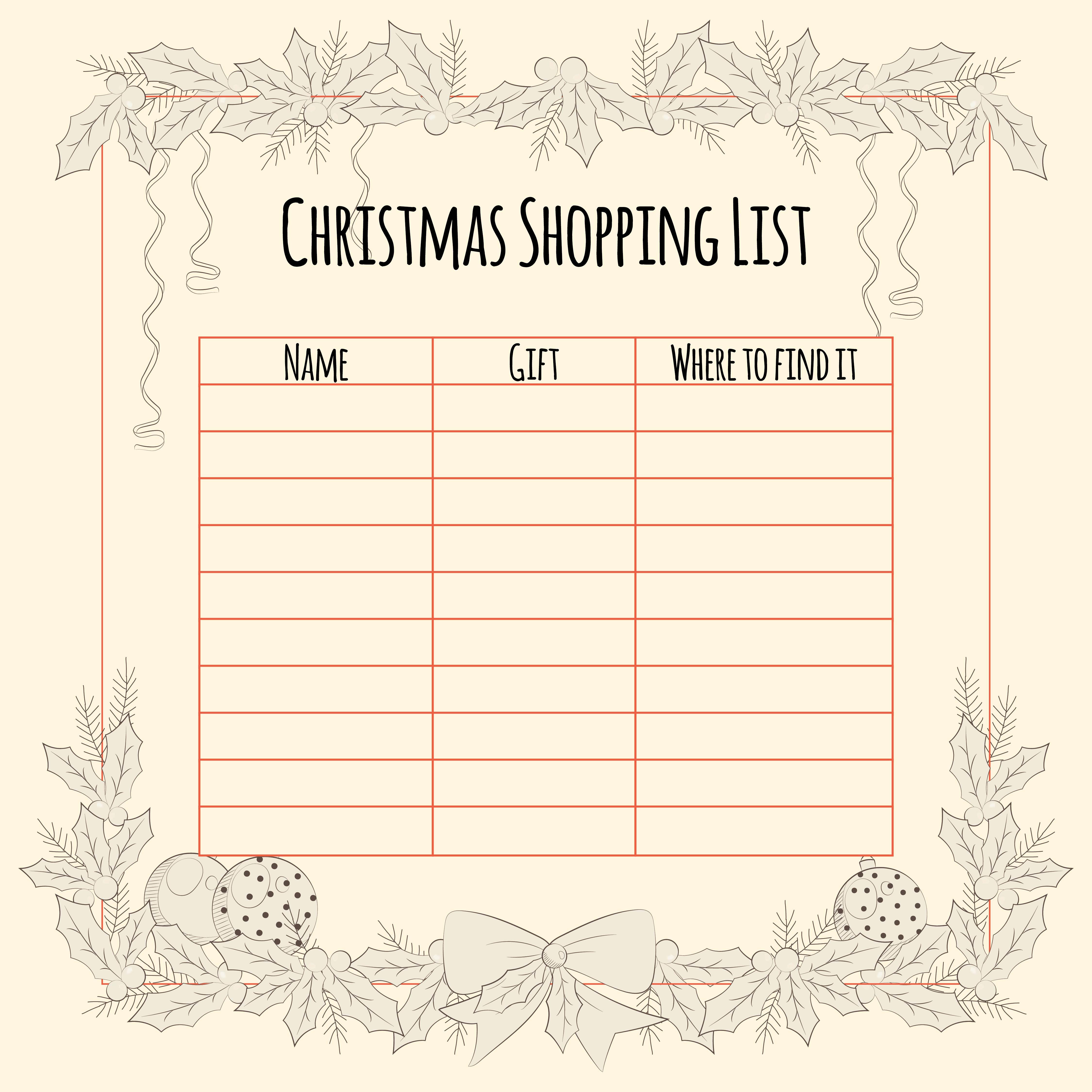 christmas list templates – Free Christmas List Template