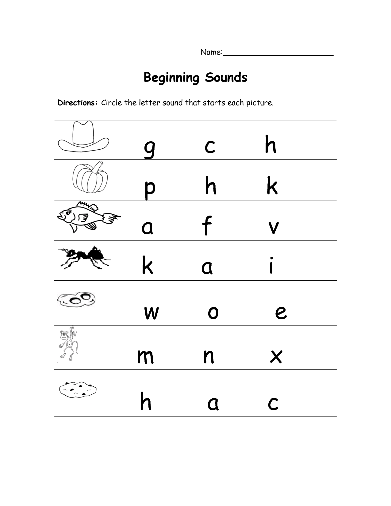 beginning sound worksheets for kindergarten Termolak – Sound Worksheets