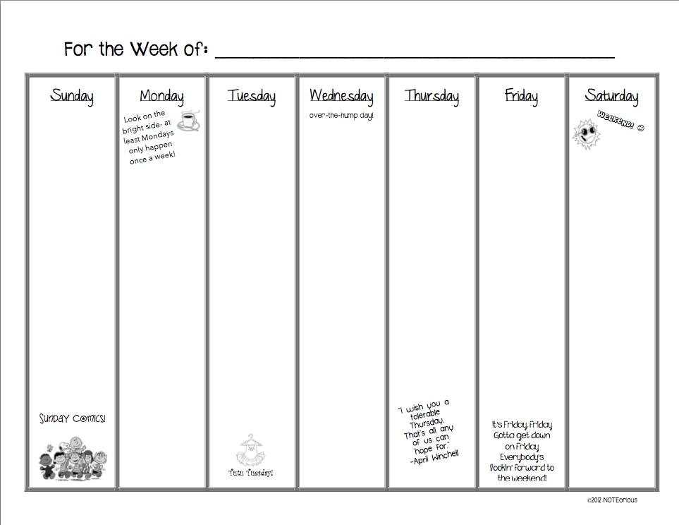 blank 30 day calendar