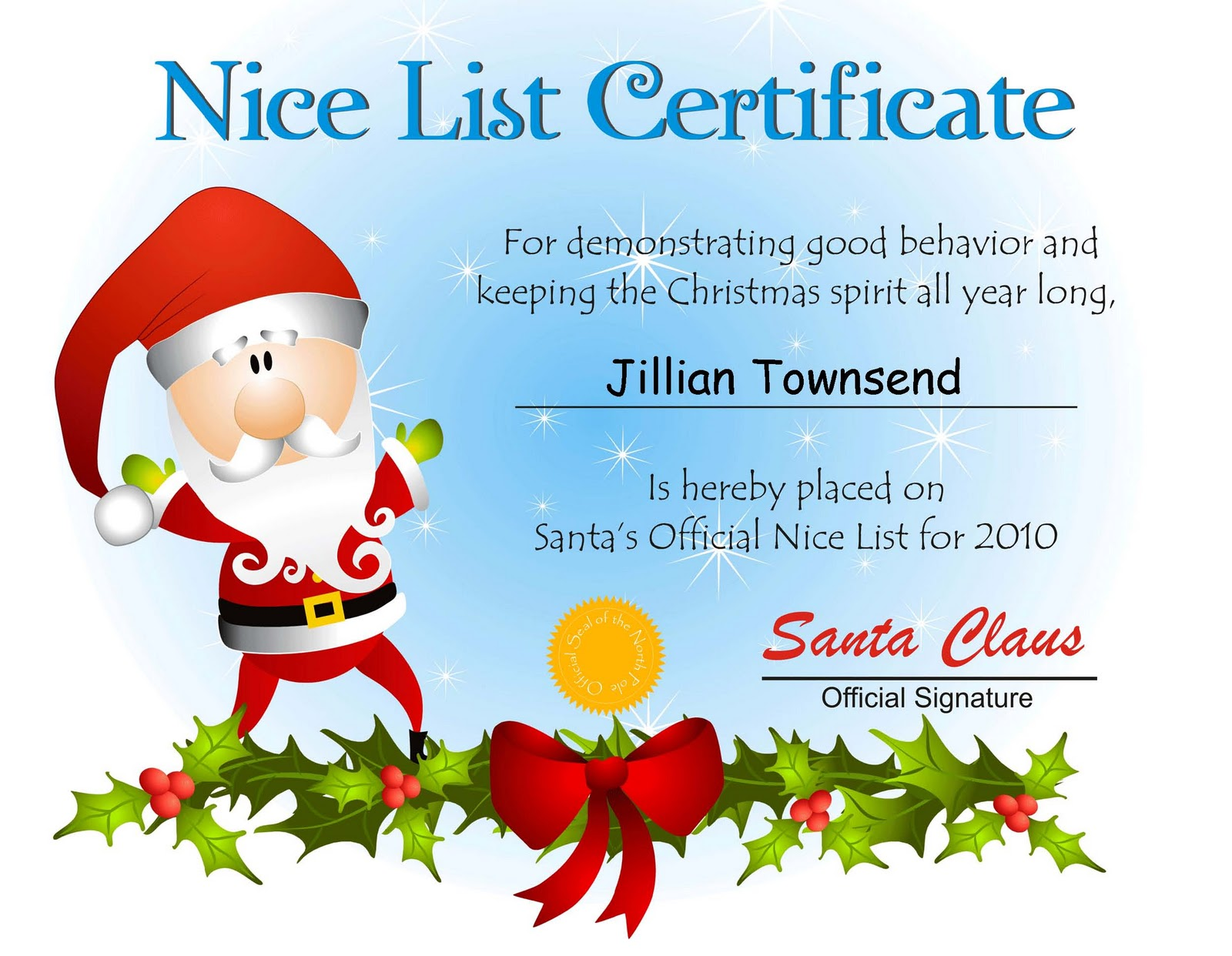 Santas nice list certificate from proof of delivery template 100 printable letter from santa and nice list certificate with free printable santa nice list certificate xflitez Gallery