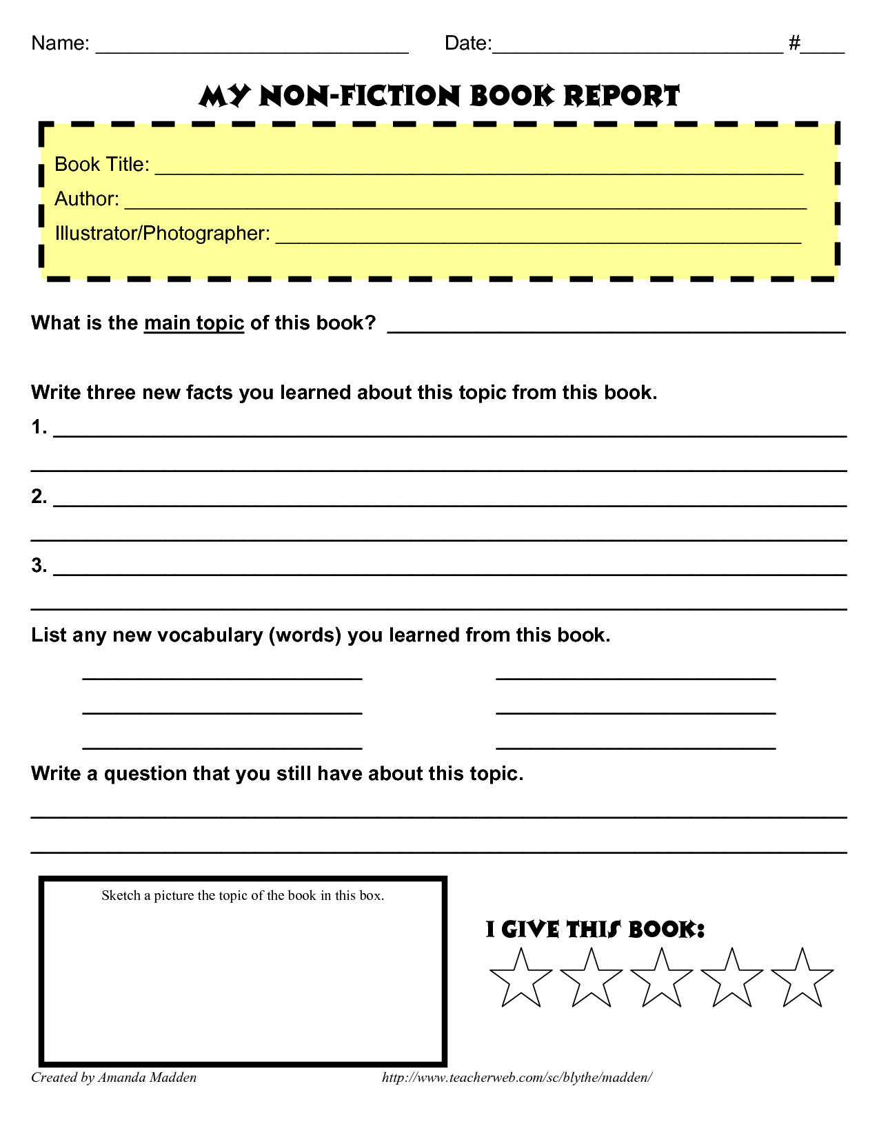 Non Fiction Book Report Template High School – Book Report Template for High School