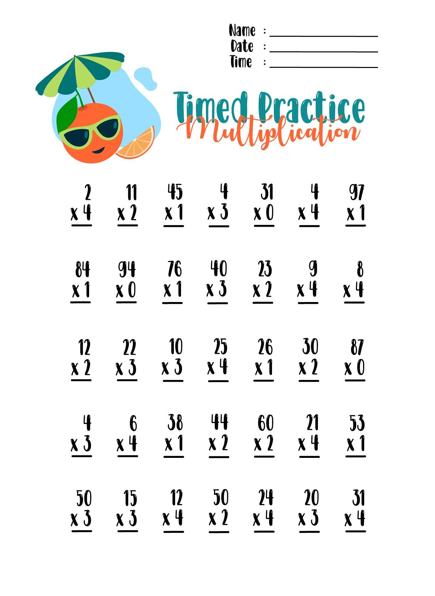 worksheet: Worksheets On Speed Multiplication Drills Free Drill ...