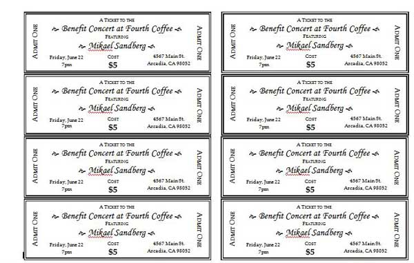 Doc500231 Fundraiser Ticket Template Free Download 17 Best – Concert Ticket Template Free