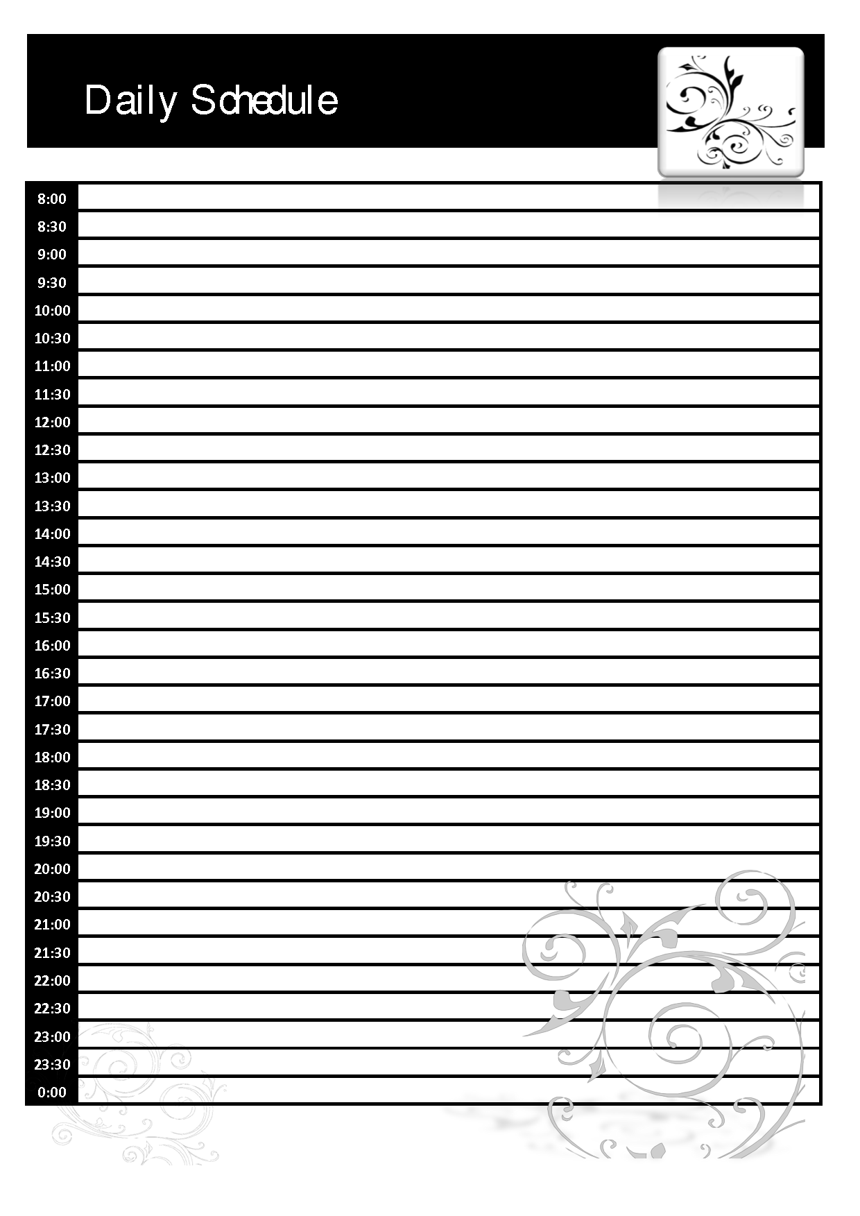24 hour work schedule template free