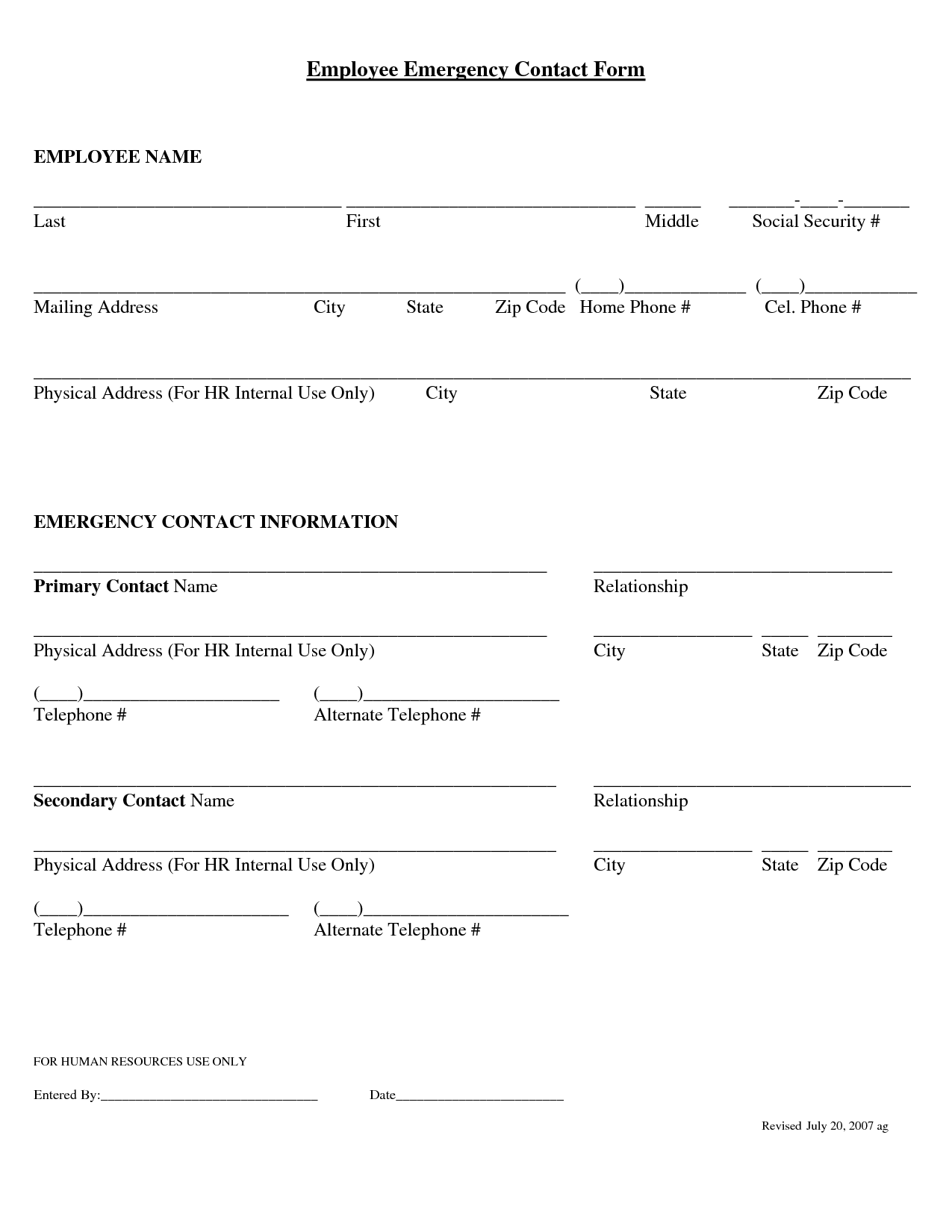 Sample Employee Emergency Contact Form | Professional resumes ...