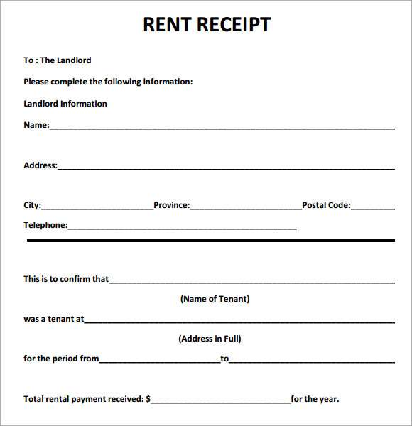 Free Rent Receipts Printable – Printable Receipts