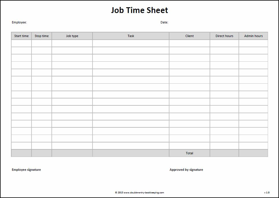 Time Sheet Blank Forms | Cover Letter Template