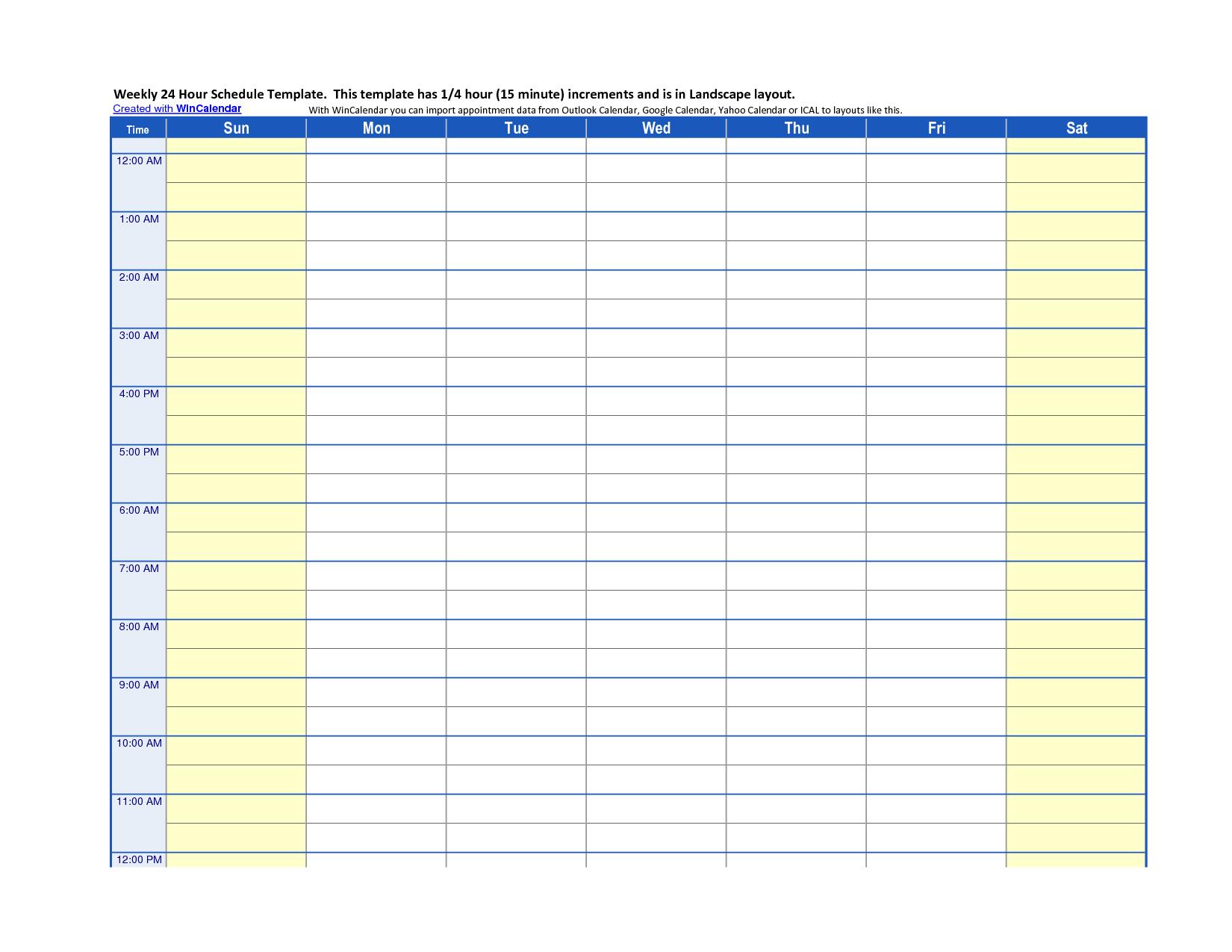 24 Hour Work Schedule Template Free | best online resume builder.