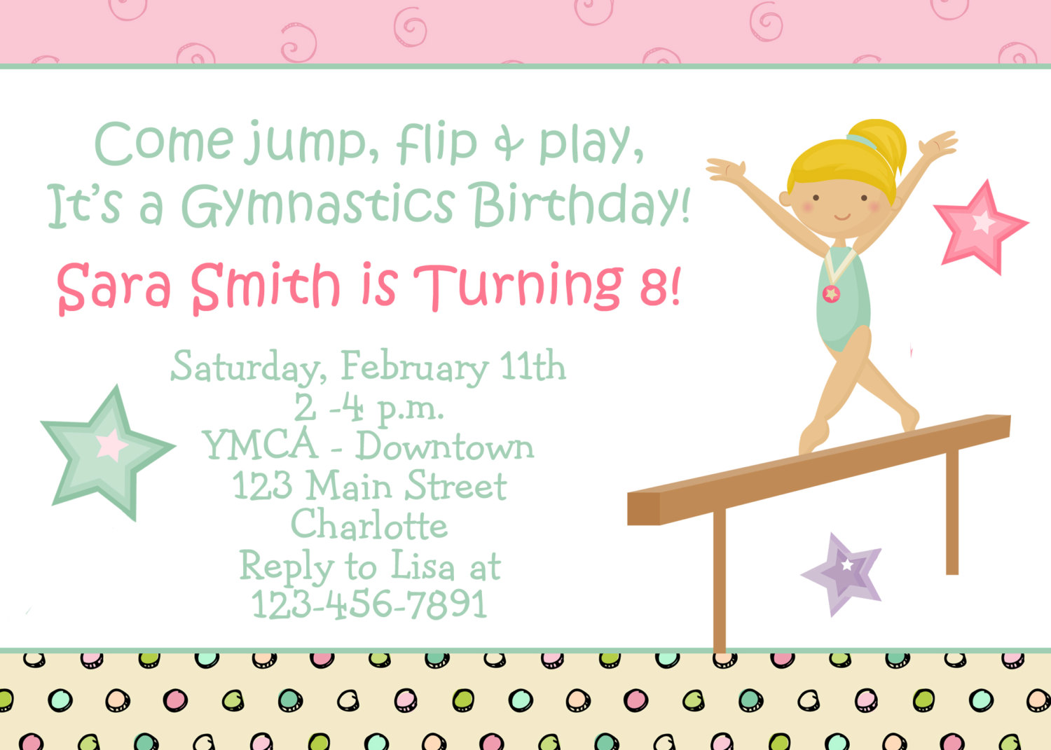 7 Best Images Of Gymnastic Birthday Invitations Printable
