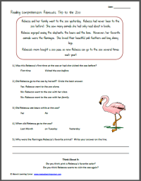 7th Grade  Free Printable Reading Comprehension ...
