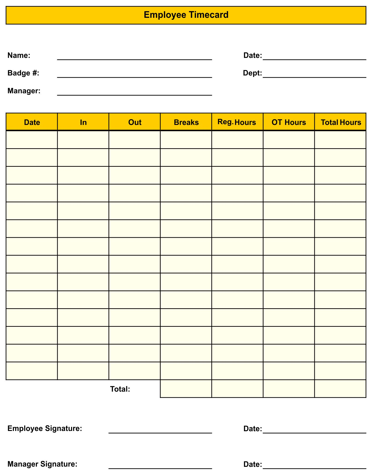 graphic about Printable Time Cards identified as √ 8 Excellent Illustrations or photos of Blank Printable Timesheets