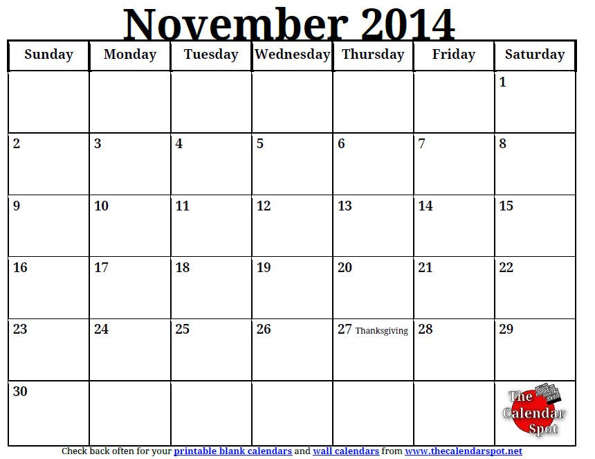 Blank Calendar Template November 2014 Costumepartyrun