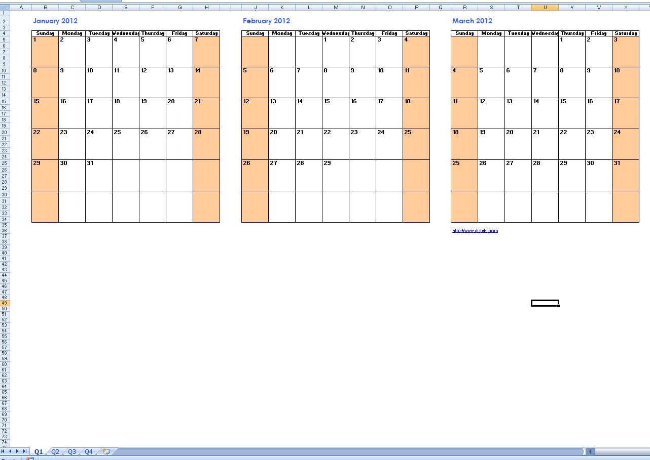 free quarterly calendar 2015
