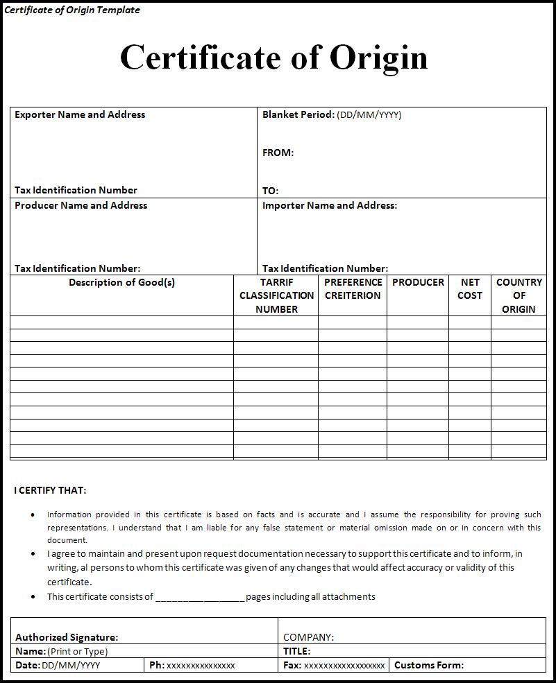 Certificate Of Origin Form Free Printable Business And