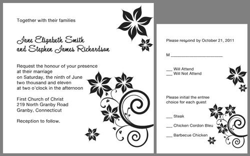 Square Floral Swirls Wedding Invitation \u2013 Black ← Wedding