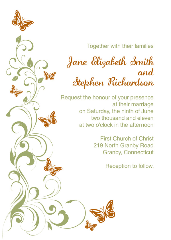 Butterflies Wedding Invitation Template ← Wedding Invitation