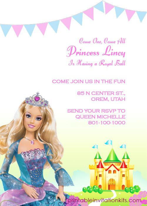 Barbie Princess Birthday Invitation Template ← Wedding Invitation