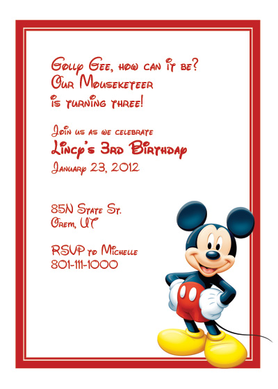 Mickey Mouse Free Invitation ← Wedding Invitation Templates