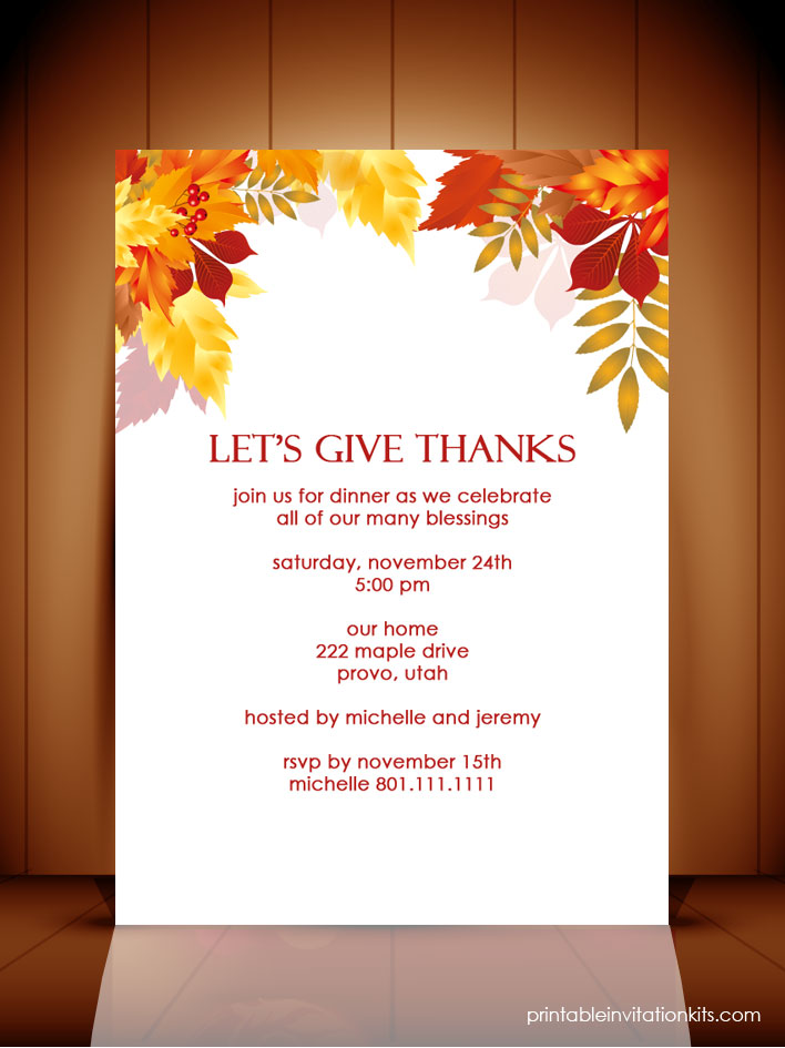 Thanksgiving Dinner\/ Autumn Invitation Template ← Wedding - dinner invitation template