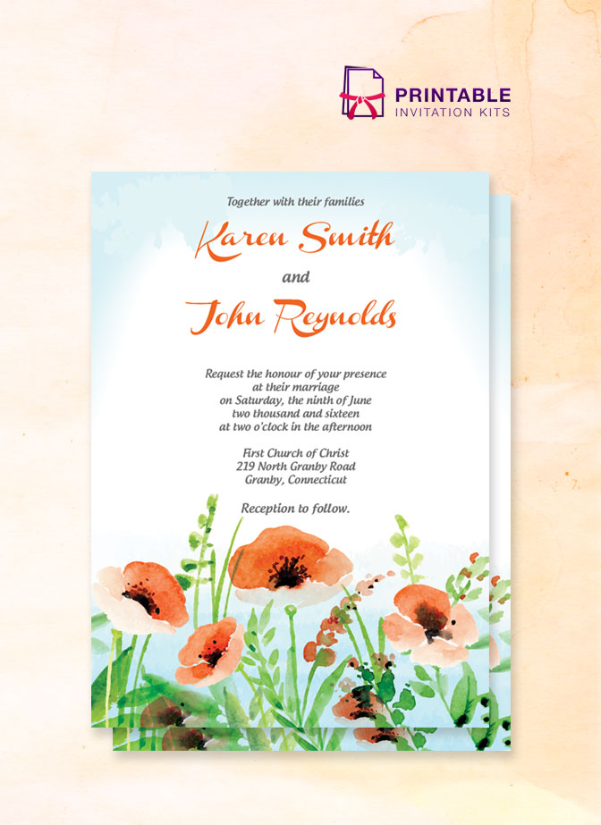 Poppy Garden Wedding Invitation ← Wedding Invitation Templates
