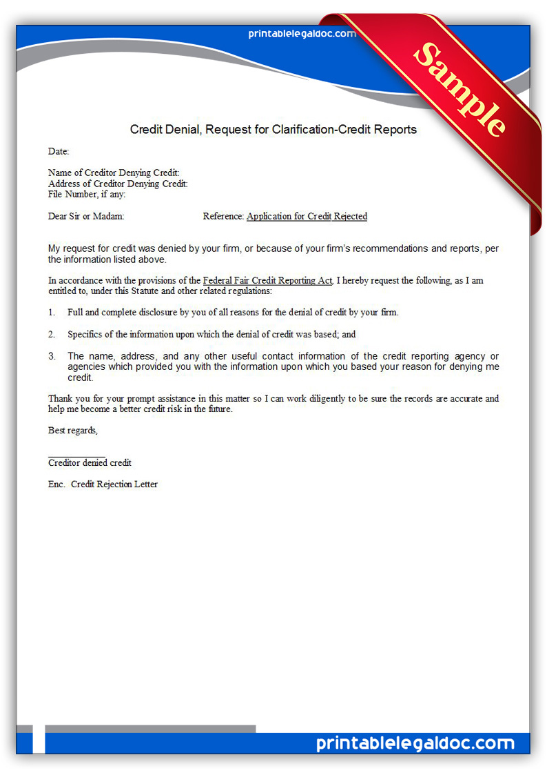 Personal Credit Report Transunion Free Printable Credit Denial Request For Information Form