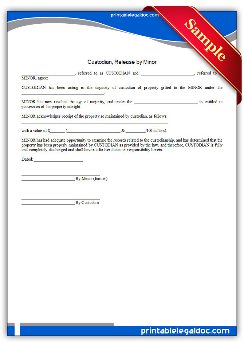 Property Release Form Alamy Free Printable Custodian Release By Minor Form Generic