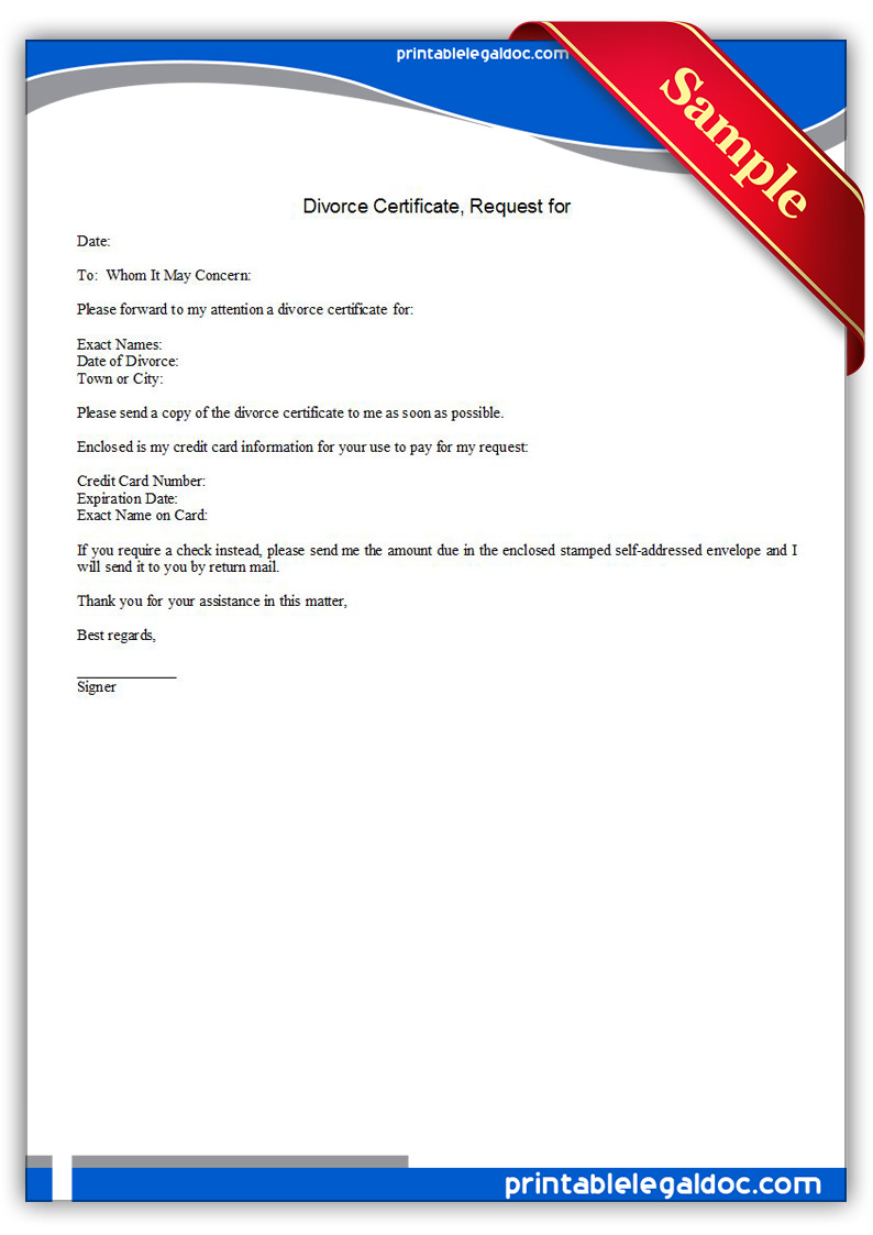 Demand Letters In The Divorce Process Ducaloi Free Printable Divorce Certificate Request For Form Generic