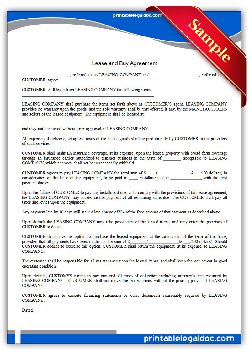 Doc12751650 Printable Blank Lease Agreement Form Free – Rent with Option to Buy Contract