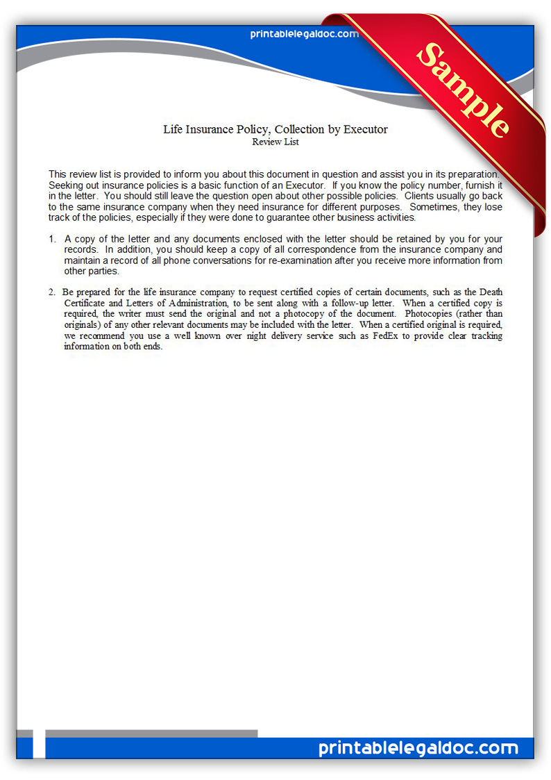Letter Of Instruction Dont Leave Life Without It Free Printable Life Insurance Policy Collection By