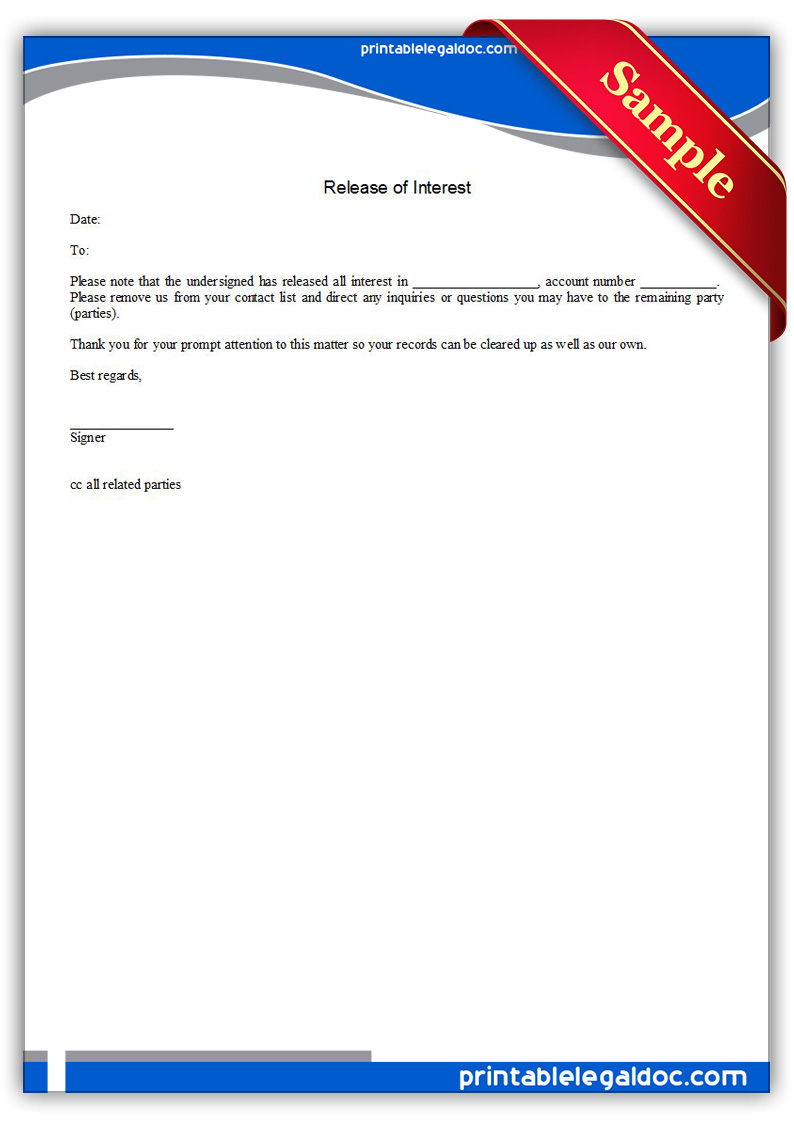Authorization Letter Samples Free Printable Release Of Interest Form Generic