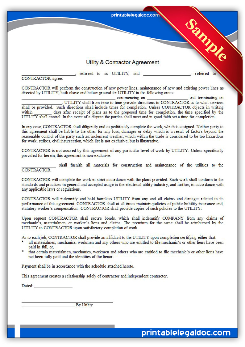 Construction Contract Agreement Template – Free Printable Construction Contracts