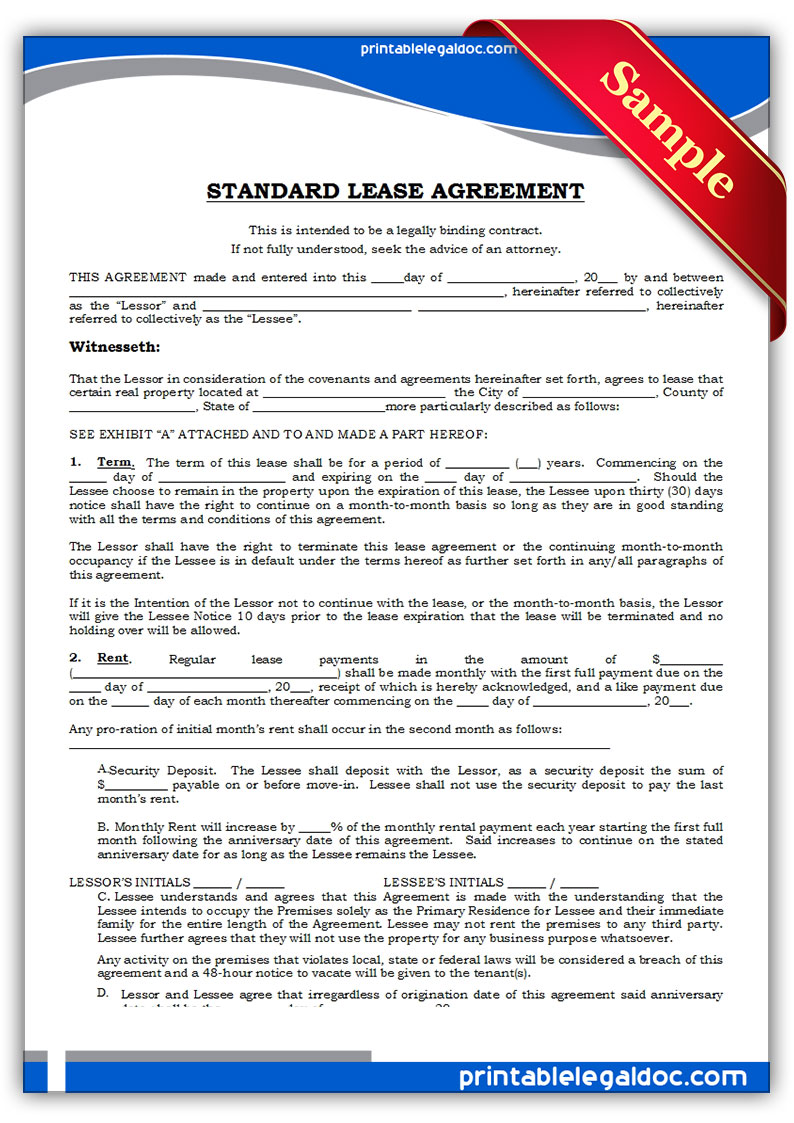 Lease Agreement Form Print – Printable Lease Form