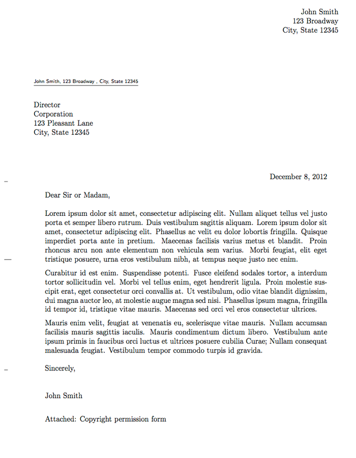 header for recommendation letter