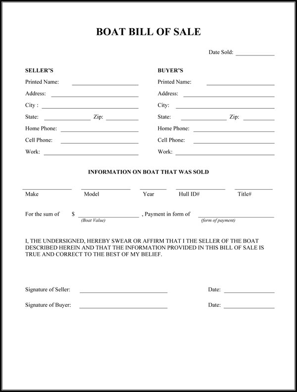 Free Printable Camper Bill of Sale Form Free Form (GENERIC) - free bill of sale