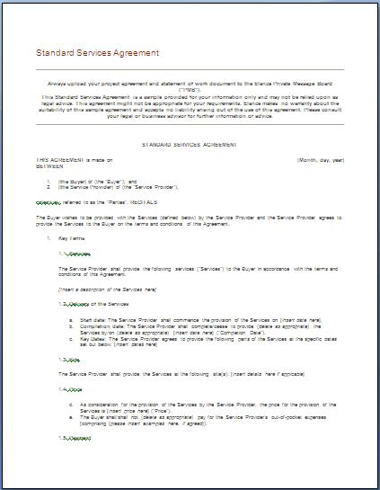 Free Printable IT Service Agreement Template Form (GENERIC) - it service agreement template