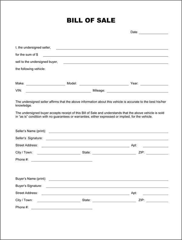 form for a bill of sale