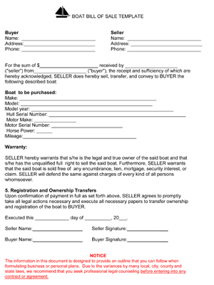 Free Printable Boat Bill Of Sale Form (GENERIC) - boat bill of sale template