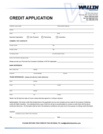 business credit application form template free - Onwebioinnovate - credit application