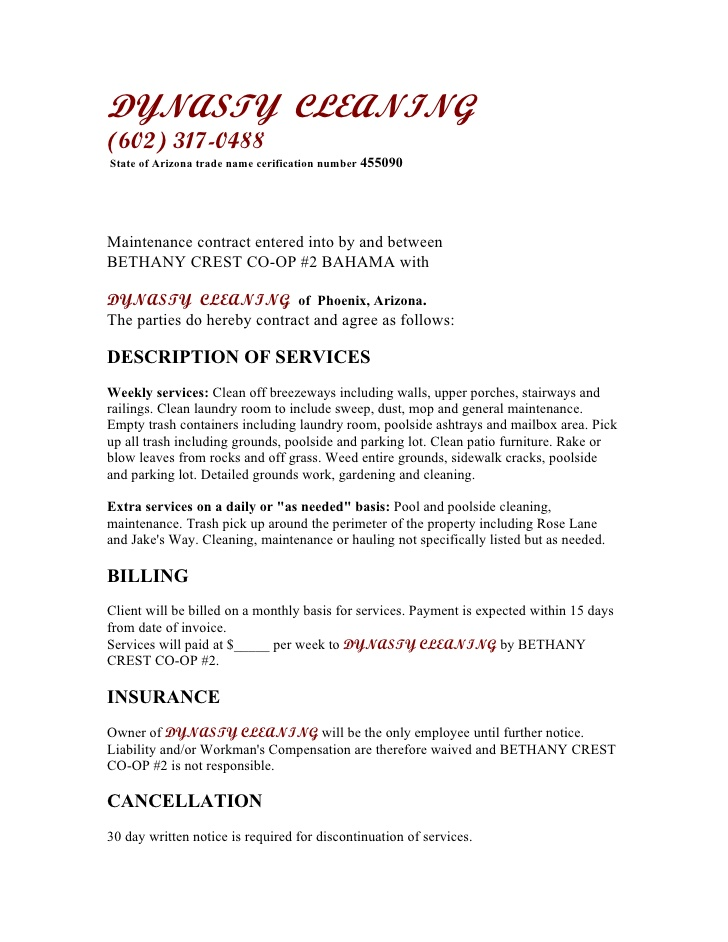 Free Printable Cleaning Contract Template Form (GENERIC) - monthly payment contract template