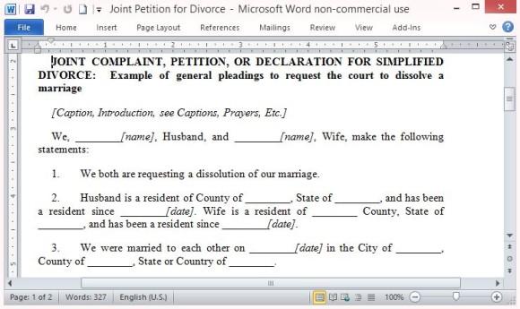 Free Printable Divorce Template Form (GENERIC) - divorce templates