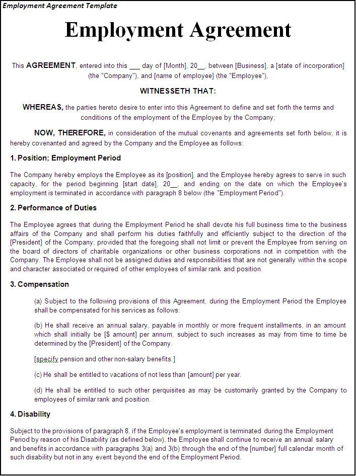 Sample Employee Contract Termination Letter Workable Free Printable Employment Contract Sample Form Generic