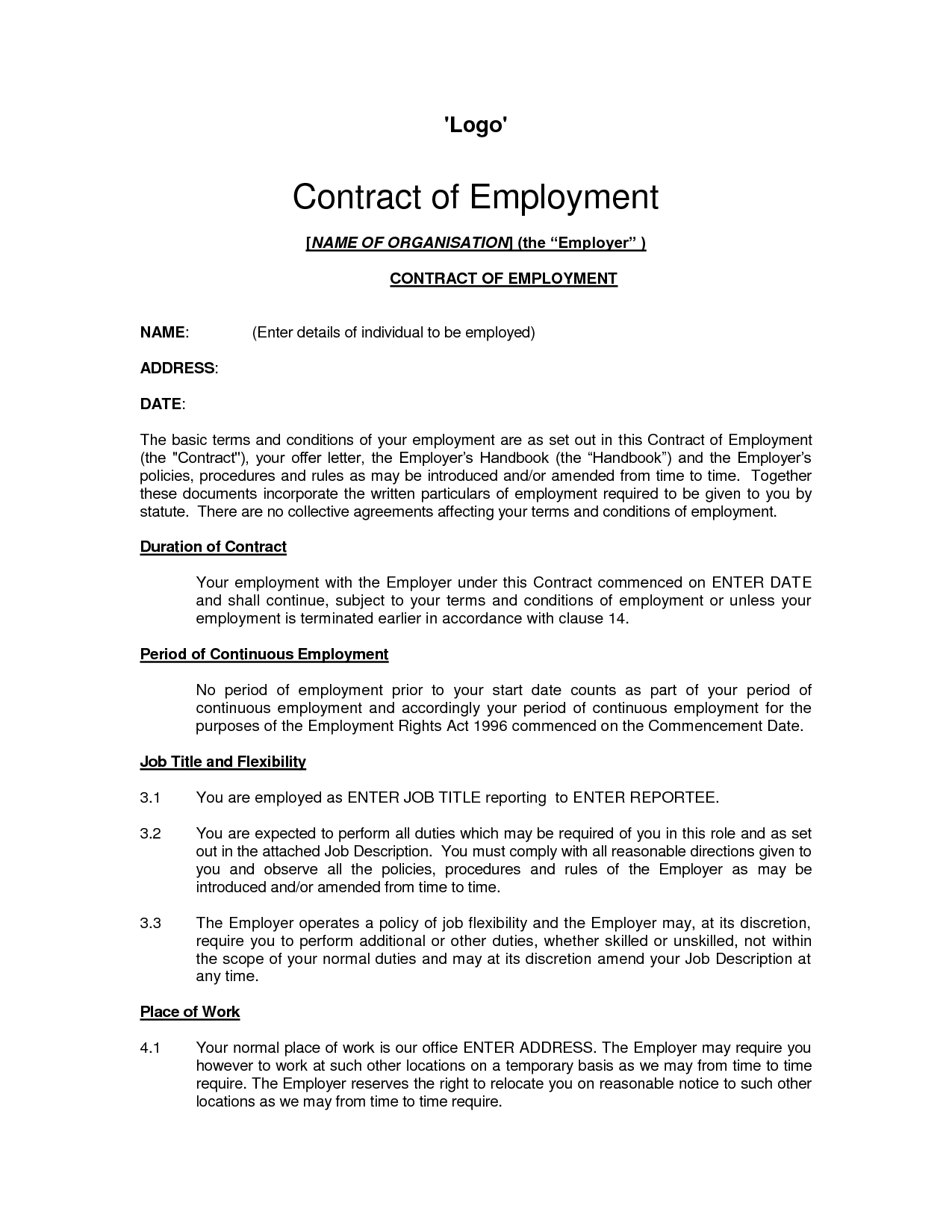 letter format for contract to permanent employment professional letter format for contract to permanent employment the employment contract template in pdf word excel of
