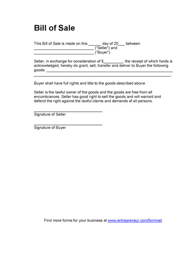 Free Printable Equipment Bill Of Sale Template Form (GENERIC) - equipment bill of sale