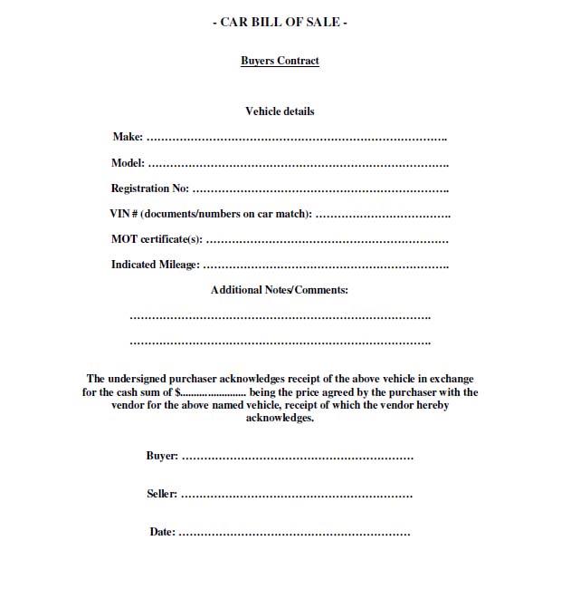 basic car sale contract