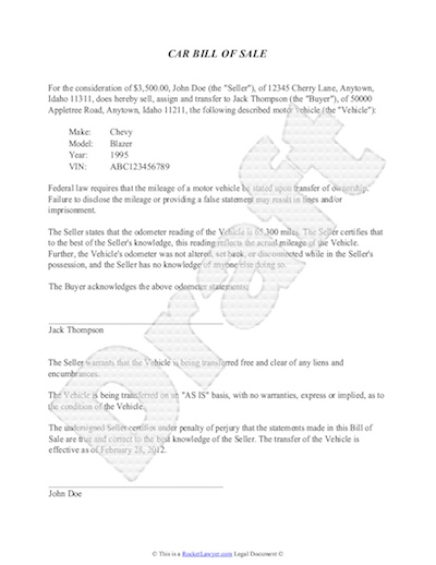 samples of bill of sale for car