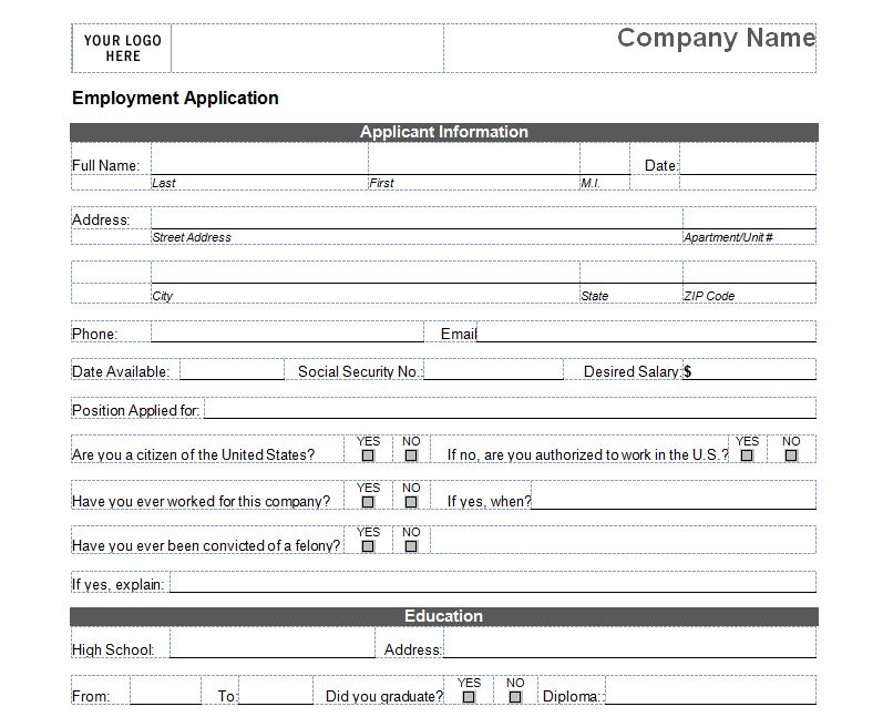 Free Printable Job Application Form Template Form (GENERIC) - Job Application Template