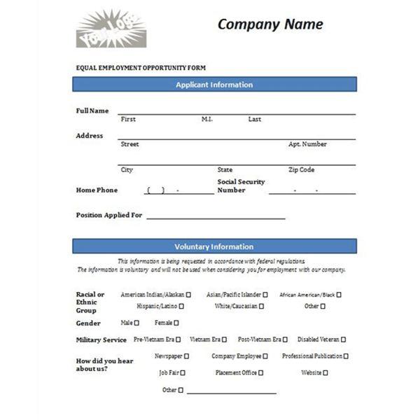 Free Printable Job Application Form Template Form (GENERIC)