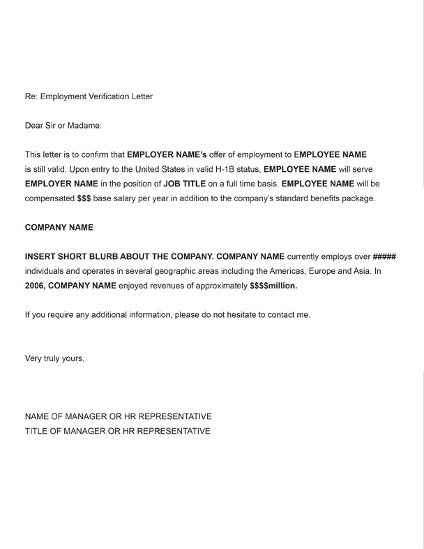 sample of letter of employment verification